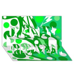 White and green decor Happy New Year 3D Greeting Card (8x4)