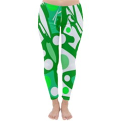 White and green decor Winter Leggings