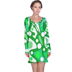 White and green decor Long Sleeve Nightdress