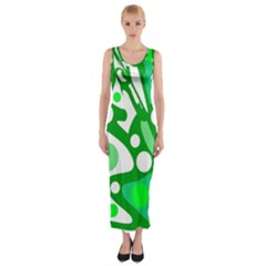 White And Green Decor Fitted Maxi Dress