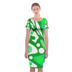 White And Green Decor Classic Short Sleeve Midi Dress