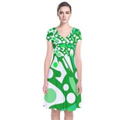 White and green decor Short Sleeve Front Wrap Dress