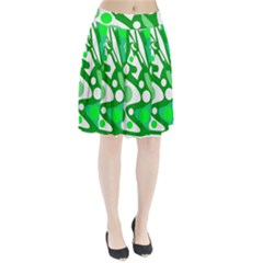 White and green decor Pleated Skirt