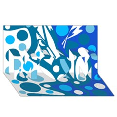 Blue and white decor MOM 3D Greeting Card (8x4)