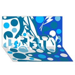 Blue and white decor PARTY 3D Greeting Card (8x4)