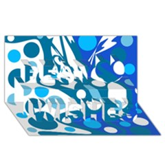 Blue and white decor Best Wish 3D Greeting Card (8x4)