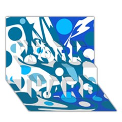 Blue and white decor WORK HARD 3D Greeting Card (7x5)