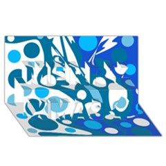 Blue and white decor Merry Xmas 3D Greeting Card (8x4)
