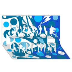 Blue and white decor Congrats Graduate 3D Greeting Card (8x4)