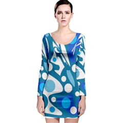 Blue and white decor Long Sleeve Bodycon Dress