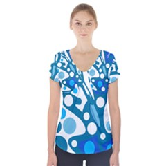 Blue and white decor Short Sleeve Front Detail Top