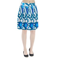 Blue and white decor Pleated Skirt