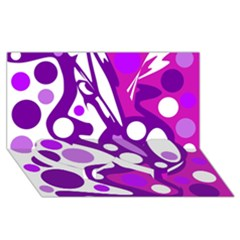 Purple and white decor Twin Heart Bottom 3D Greeting Card (8x4)