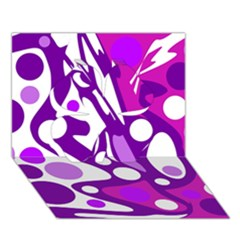 Purple and white decor Clover 3D Greeting Card (7x5)