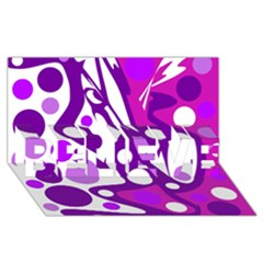 Purple and white decor BELIEVE 3D Greeting Card (8x4)