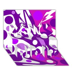 Purple and white decor You Did It 3D Greeting Card (7x5)
