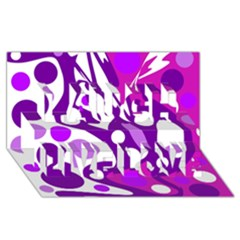 Purple and white decor Laugh Live Love 3D Greeting Card (8x4)