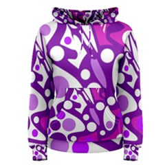 Purple And White Decor Women s Pullover Hoodie
