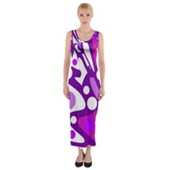 Purple And White Decor Fitted Maxi Dress