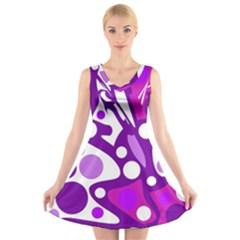 Purple And White Decor V Neck Sleeveless Skater Dress
