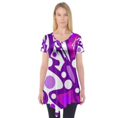 Purple and white decor Short Sleeve Tunic