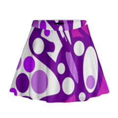 Purple and white decor Mini Flare Skirt