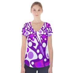 Purple and white decor Short Sleeve Front Detail Top
