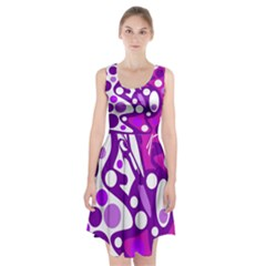 Purple And White Decor Racerback Midi Dress