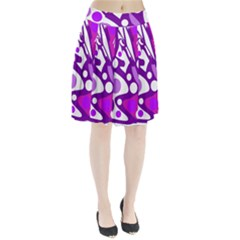 Purple and white decor Pleated Skirt