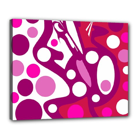 Magenta and white decor Canvas 20  x 16
