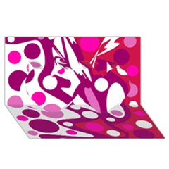 Magenta and white decor Twin Hearts 3D Greeting Card (8x4)