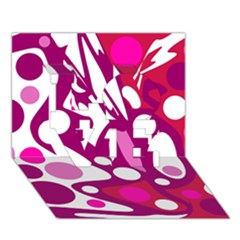 Magenta and white decor LOVE 3D Greeting Card (7x5)