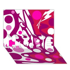 Magenta and white decor HOPE 3D Greeting Card (7x5)