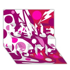Magenta and white decor TAKE CARE 3D Greeting Card (7x5)