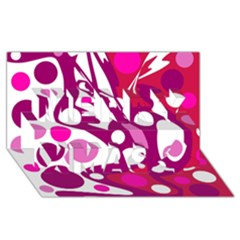 Magenta and white decor Merry Xmas 3D Greeting Card (8x4)