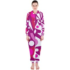 Magenta and white decor Hooded Jumpsuit (Ladies)