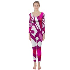 Magenta and white decor Long Sleeve Catsuit