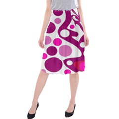Magenta And White Decor Midi Beach Skirt