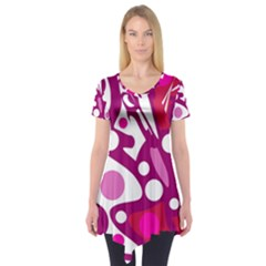 Magenta and white decor Short Sleeve Tunic