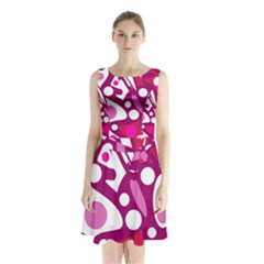 Magenta and white decor Sleeveless Chiffon Waist Tie Dress