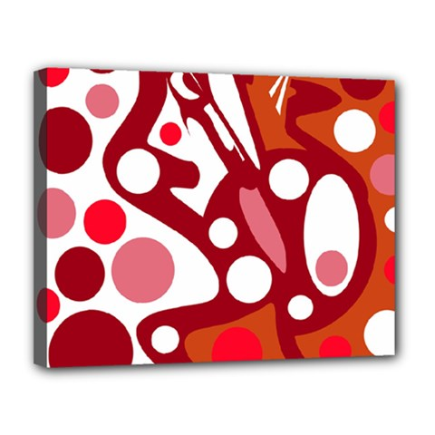 Red and white decor Canvas 14  x 11