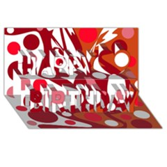 Red and white decor Happy Birthday 3D Greeting Card (8x4)