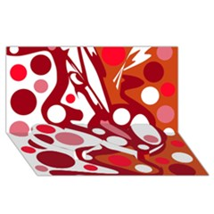 Red and white decor Twin Heart Bottom 3D Greeting Card (8x4)
