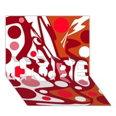Red and white decor HOPE 3D Greeting Card (7x5)