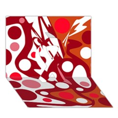 Red and white decor Ribbon 3D Greeting Card (7x5)