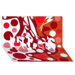 Red and white decor HUGS 3D Greeting Card (8x4)