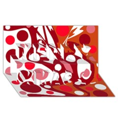 Red And White Decor Merry Xmas 3d Greeting Card (8x4)