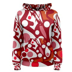 Red and white decor Women s Pullover Hoodie
