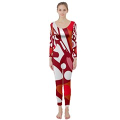 Red and white decor Long Sleeve Catsuit