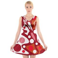 Red and white decor V-Neck Sleeveless Skater Dress